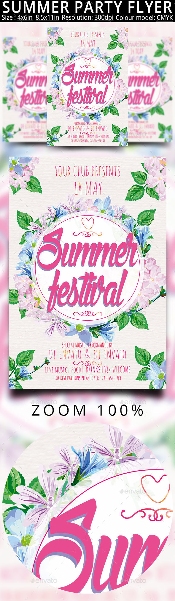 Summer Festival Party Flyer Poster - Clubs & Parties Events