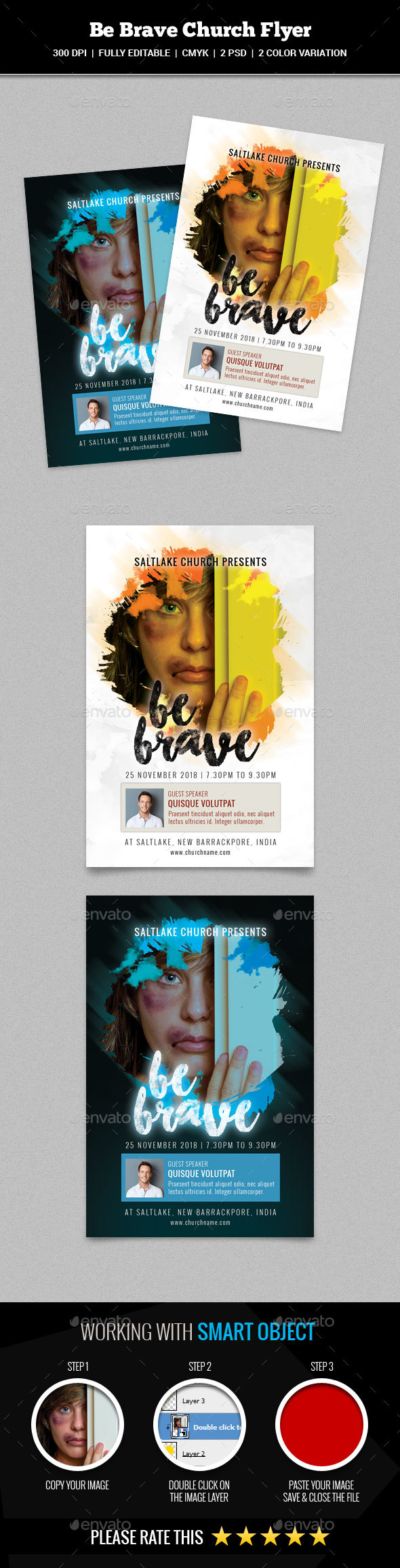 Be Brave Church Flyer - Church Flyers