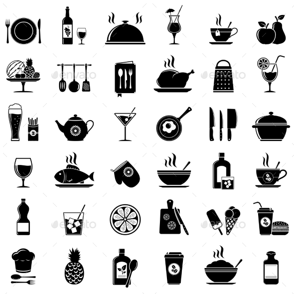 Cooking, Kitchen Tools, Food and Drinks Icons - Food Objects