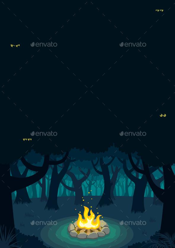 Forest Campfire Poster - Landscapes Nature