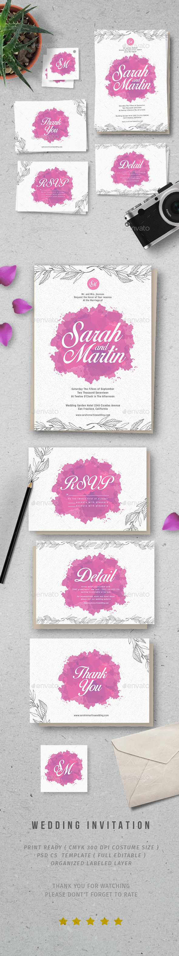Watercolor Wedding Invitation - Invitations Cards & Invites