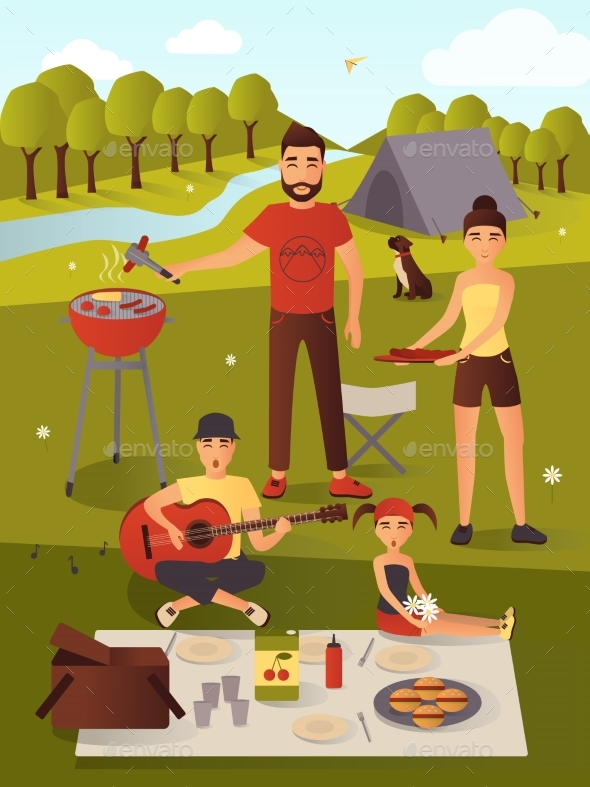 Family Picnic Vector Illustration in Flat Style - Travel Conceptual
