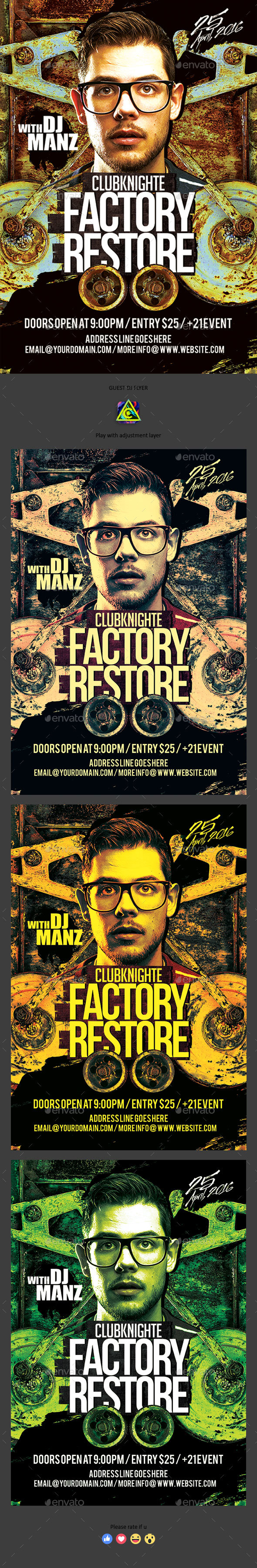 Factory Restore Guest Dj Flyer - Clubs & Parties Events