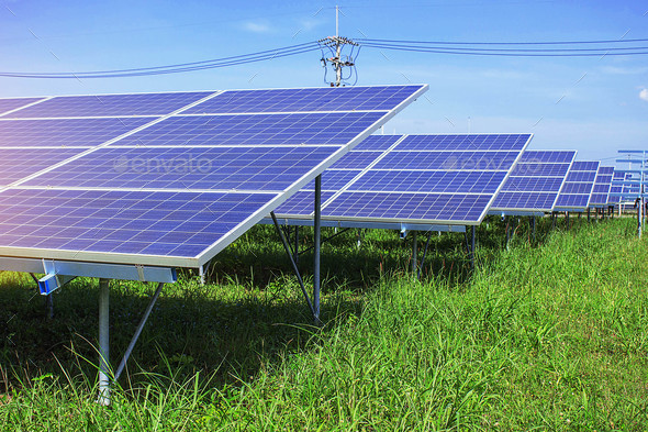 Solar panels on green grass - Stock Photo - Images
