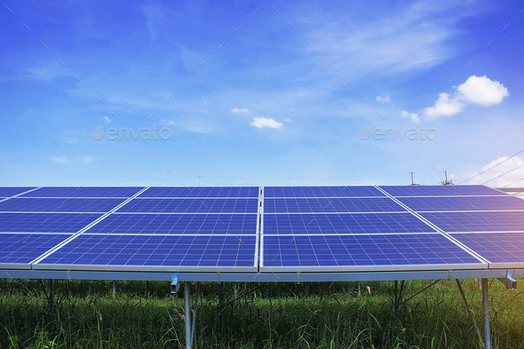Solar panels with blue sky. - Stock Photo - Images
