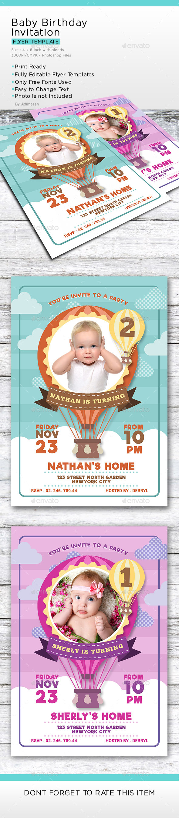 Baby Birthday Invitation - Birthday Greeting Cards