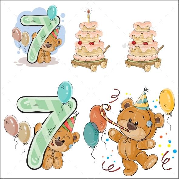 Brown Teddy Bear Birthday - Birthdays Seasons/Holidays