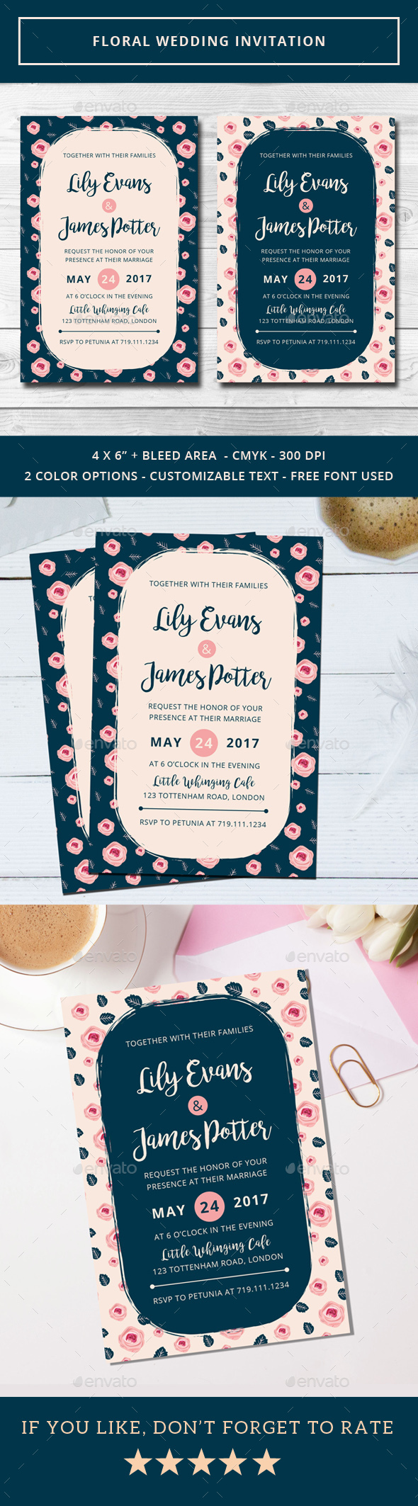 Floral Wedding Invitation - Weddings Cards & Invites