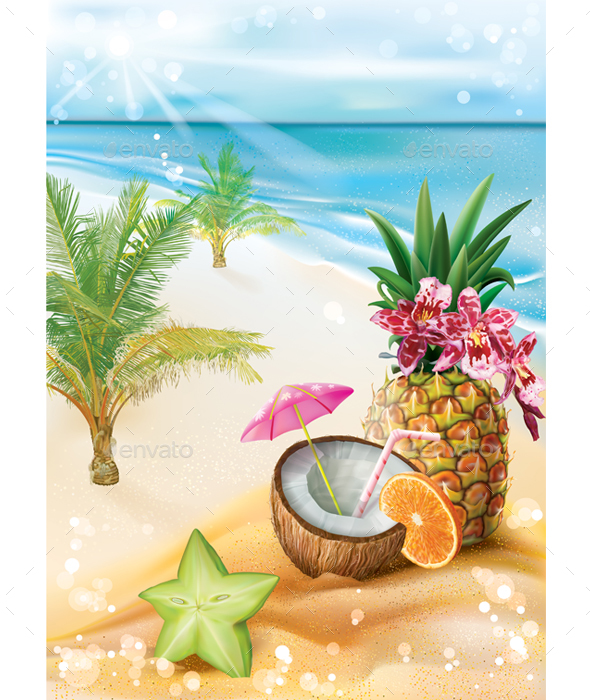 Exotic Cocktail on a Summer Tropical Beach - Travel Conceptual