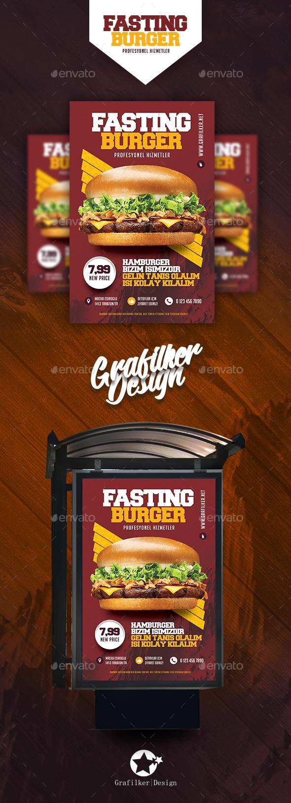 Fast Food Burger Poster Templates - Signage Print Templates