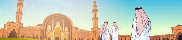 Arab People Coming To Mosque Building Muslim - Religion Conceptual