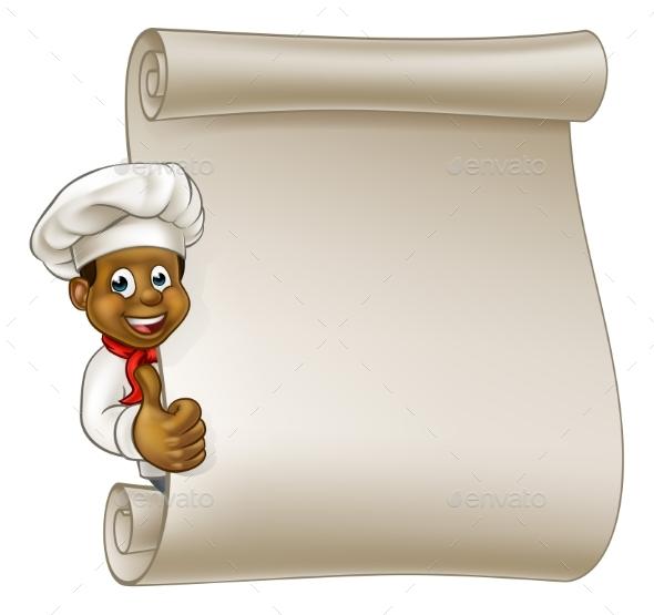 Cartoon Black Chef Menu Scroll - Miscellaneous Vectors