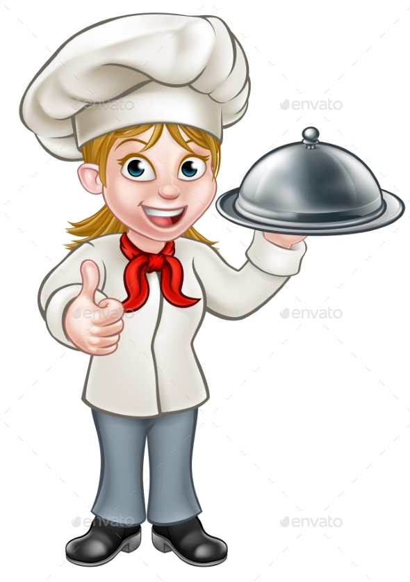Female Woman Chef Cartoon Character - Food Objects