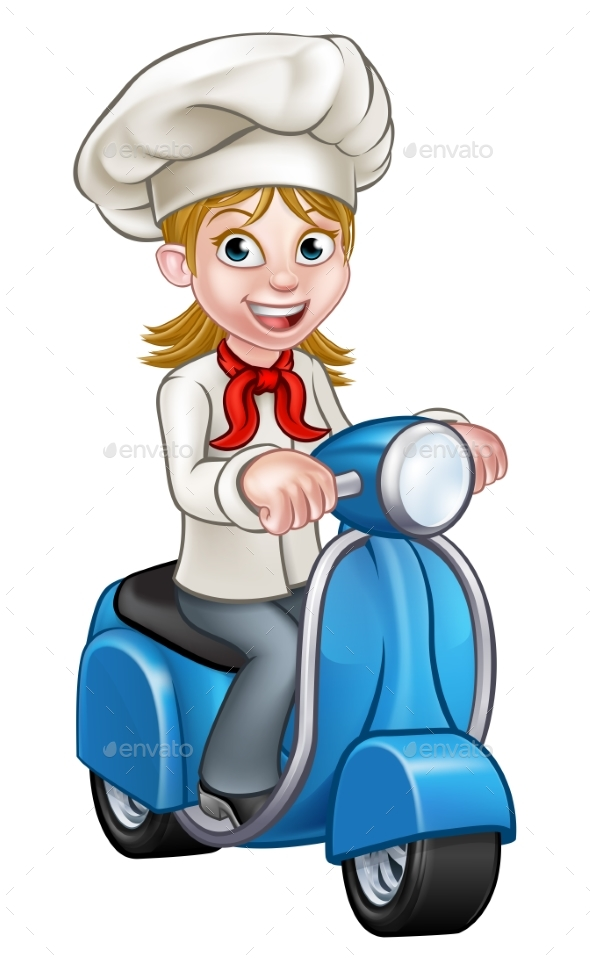 Cartoon Delivery Moped Scooter Chef