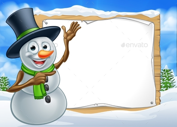 Snowman Cartoon Christmas Sign - Miscellaneous Vectors