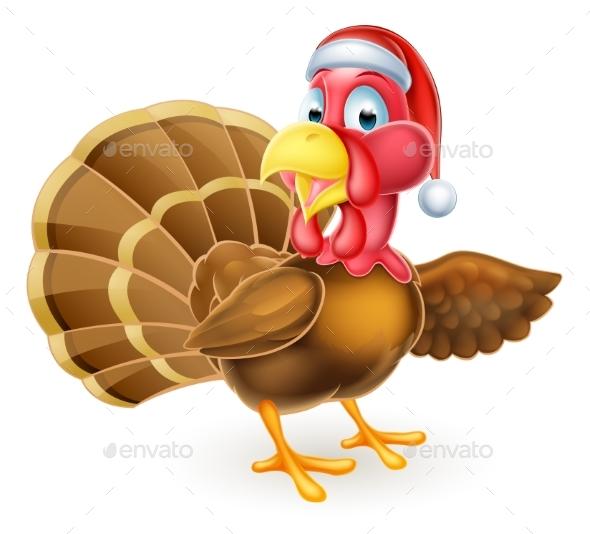 Cartoon Christmas Santa Hat Turkey Bird Pointing - Animals Characters