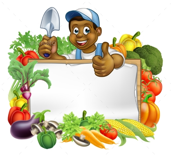 Cartoon Black Gardener Sign - Food Objects