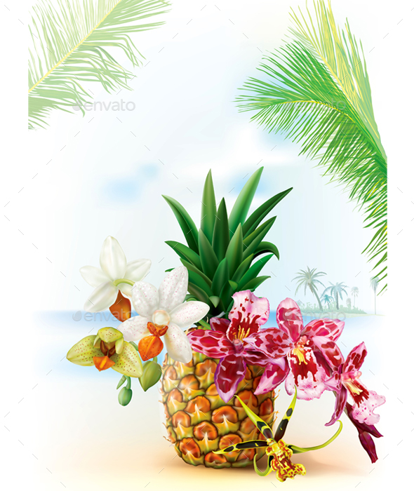Pinapple with Orchid Flowers - Travel Conceptual