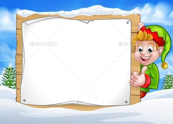 Snow Scene Landscape Christmas Elf Sign - Miscellaneous Vectors