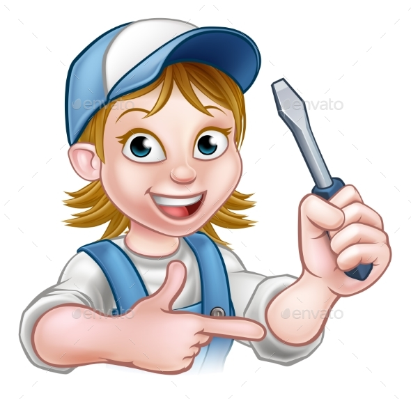 Electrician Woman Holding Screwdriver - People Characters