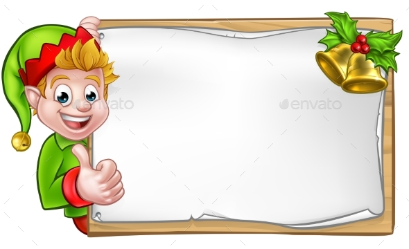 Christmas Sign Santa Helper Elf Thumbs Up - Miscellaneous Vectors