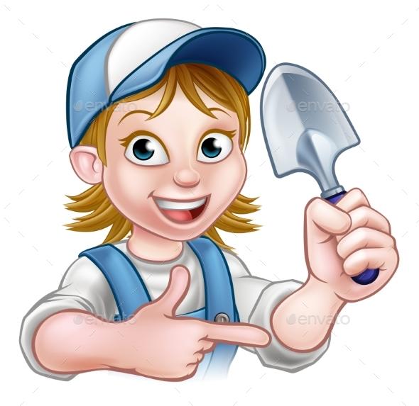 Cartoon Woman Gardener - People Characters