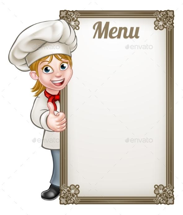 Cartoon Woman Chef Menu - Miscellaneous Vectors
