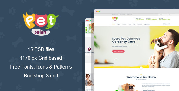 Pet Salon - Pet Grooming PSD Template - Business Corporate
