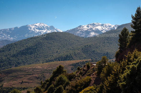 Morocco The High Atlas Mountain range view - Stock Photo - Images