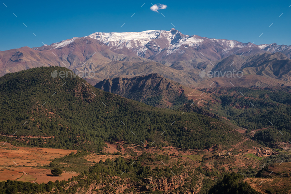 Morocco The High Atlas Mountain range view - Stock Photo - Images