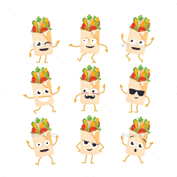 Shawarma - Vector Set of Mascot Illustrations. - Food Objects
