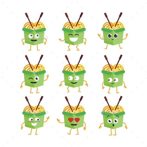 Wok Character - Vector Set of Mascot Illustrations - Food Objects