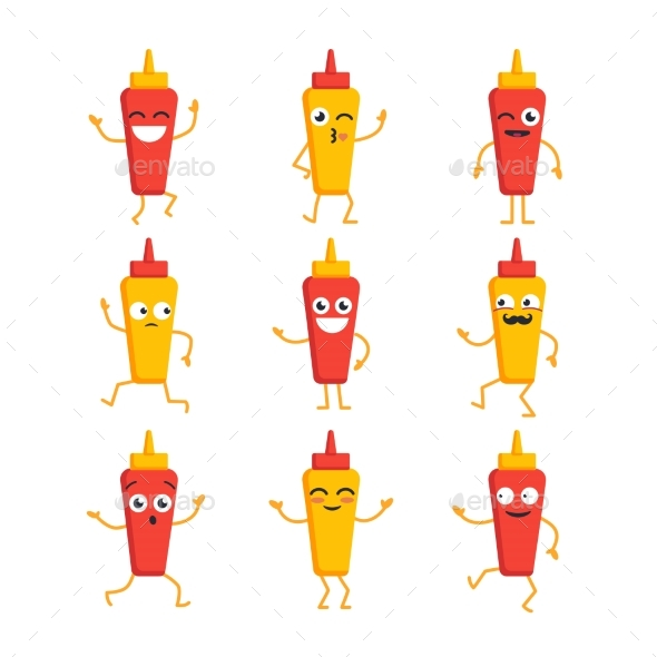 Ketchup and Mustard- Vector Set of Mascot - Food Objects