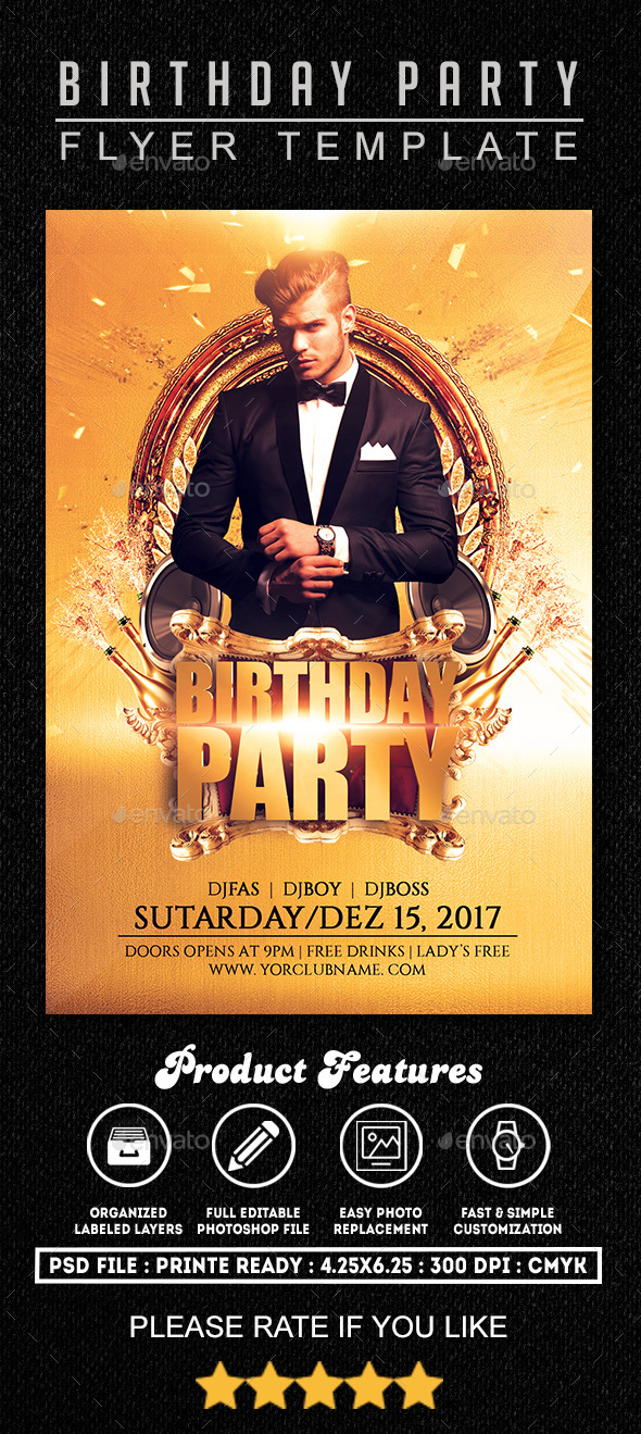 Birthday Party 3 Flyer - Clubs & Parties Events