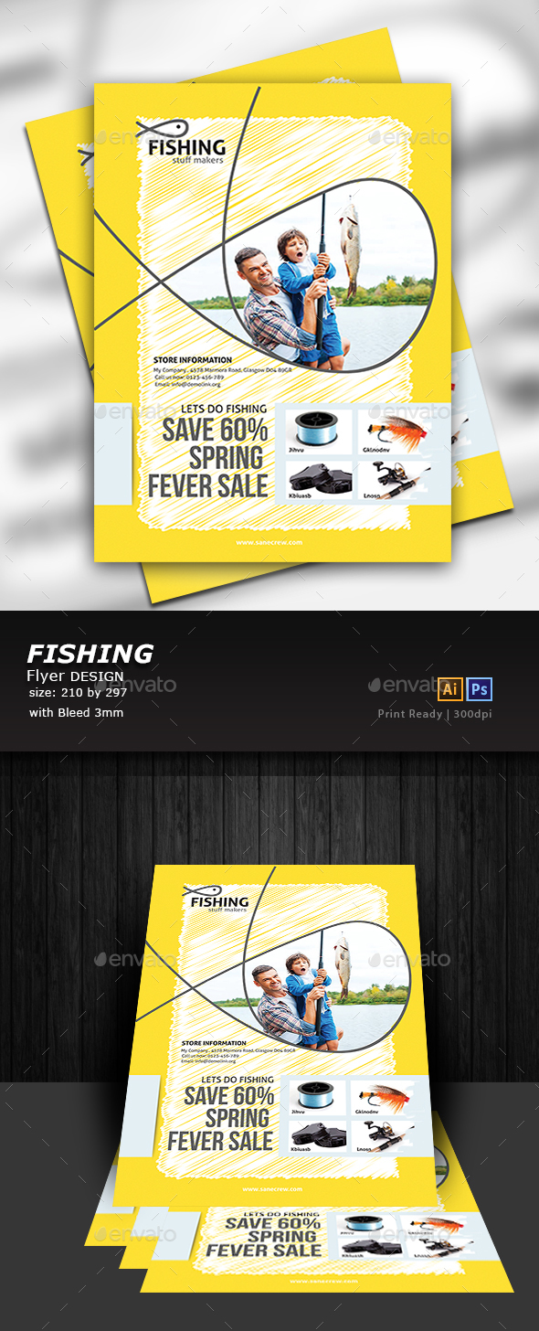 Fishing Equipment Store Flyer - Flyers Print Templates