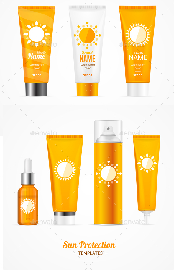 Sun Protection Cosmetic Cream Template Set. Vector - Health/Medicine Conceptual