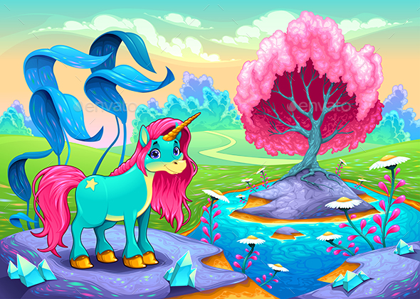 Unicorn in a Landscape of Dreams - Animals Characters