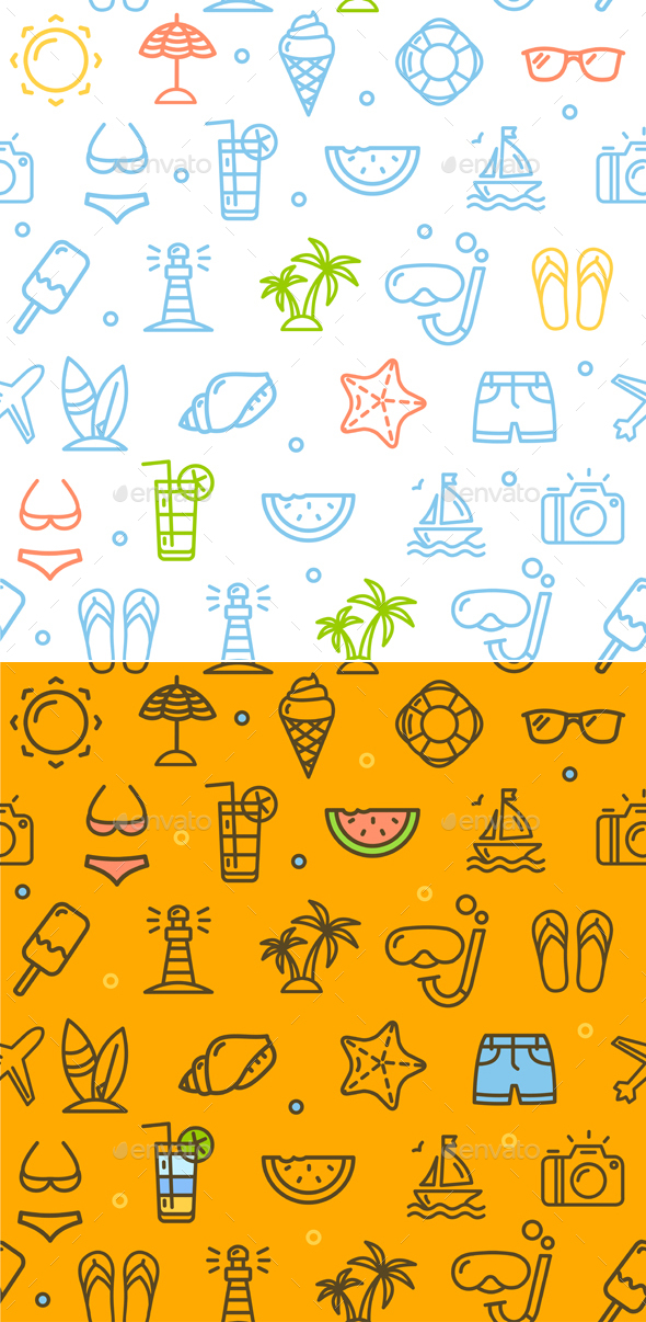 Summer Travel Recreation Holiday Pattern Background. Vector - Backgrounds Decorative