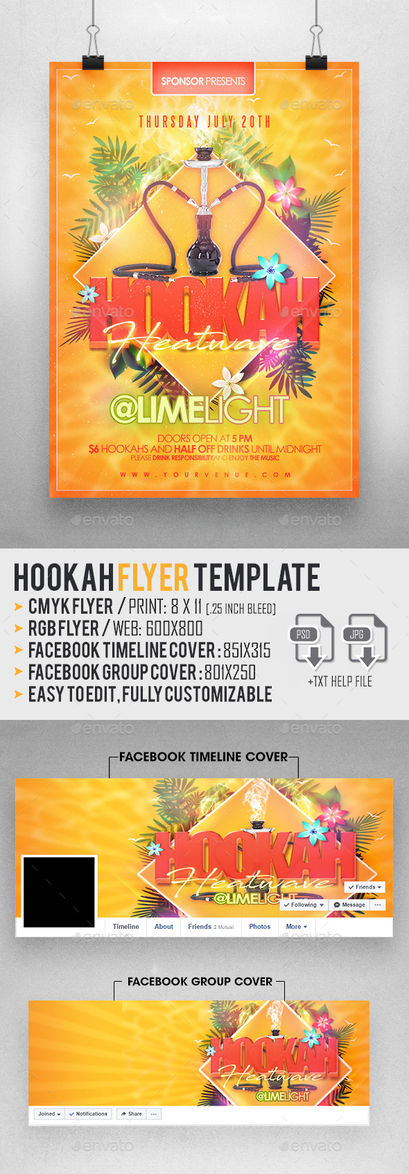 Hookah Flyer Template - Clubs & Parties Events
