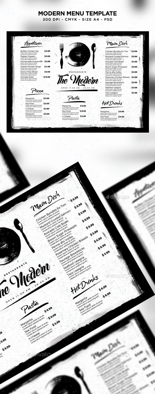 Modern Menu Template - Food Menus Print Templates