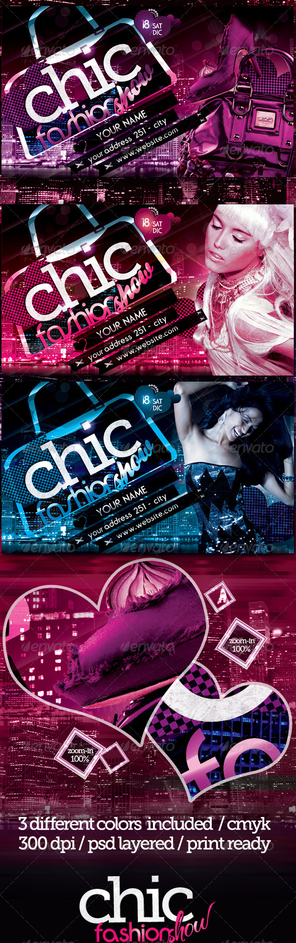 Chic Fashion Show Flyer Template - Clubs & Parties Events