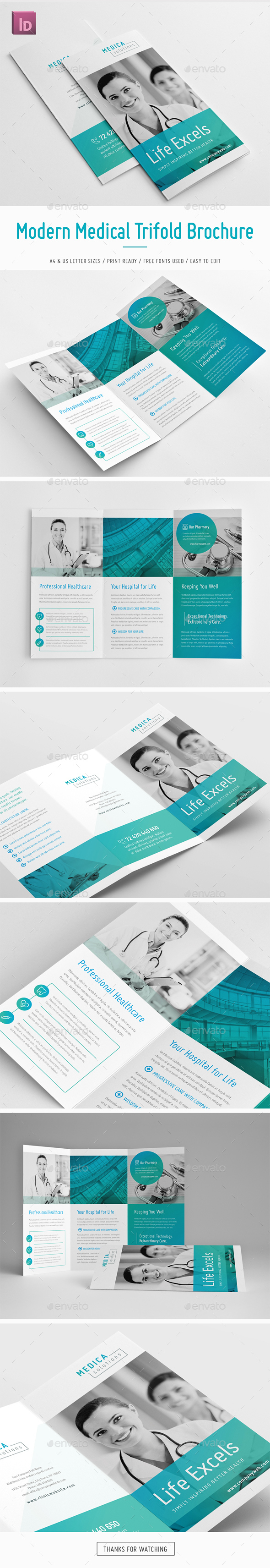 Modern Medical Trifold Brochure - Brochures Print Templates