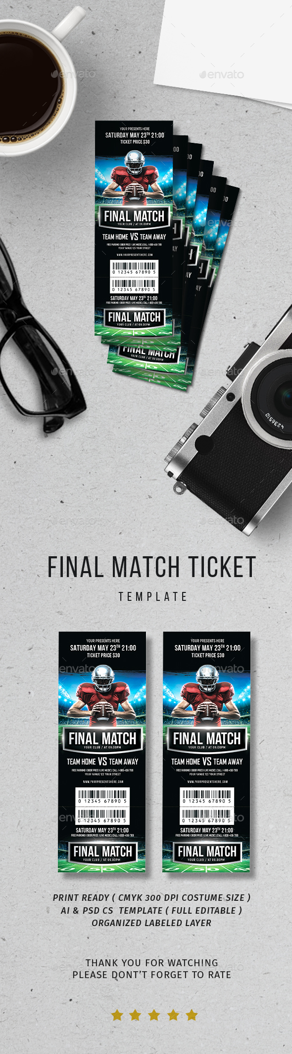 Final Match Ticket - Print Templates