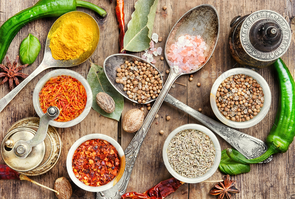 peppercorn and Indian spice - Stock Photo - Images