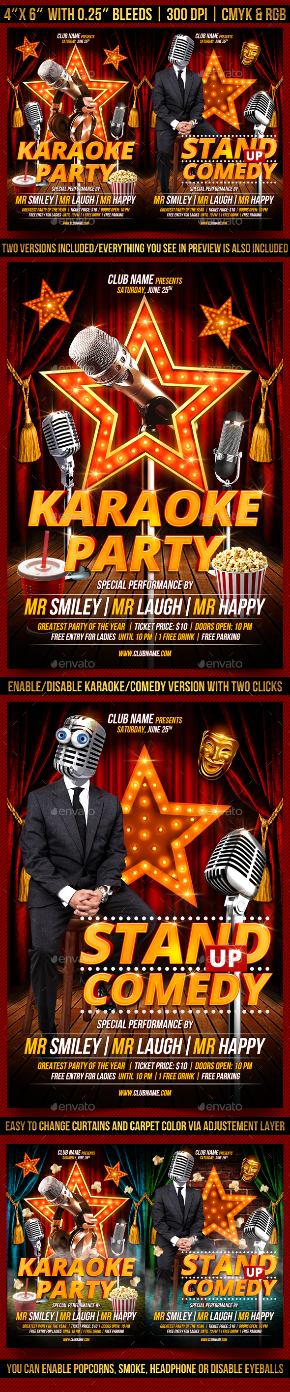 Karaoke and Comedy Flyer Template - Clubs & Parties Events
