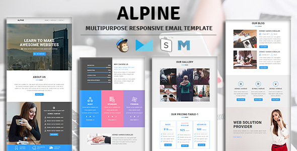 Alpine – Email Template Multipurpose Responsive with Stampready Builder Access
