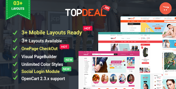 TopDeal – Advanced & Multipurpose OpenCart 2.3 Theme with Mobile-Specific Layouts