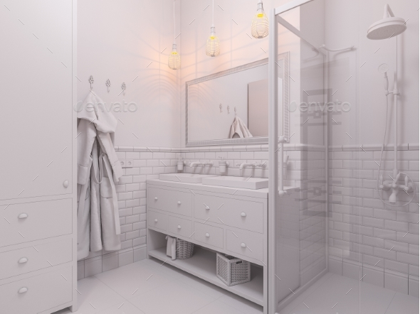 3d Illustration of a Interior Design Bathroom - Architecture 3D Renders