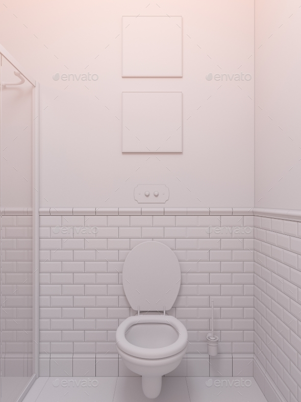 3d Illustration of a Interior Design Bathroom - Architecture 3D Renders