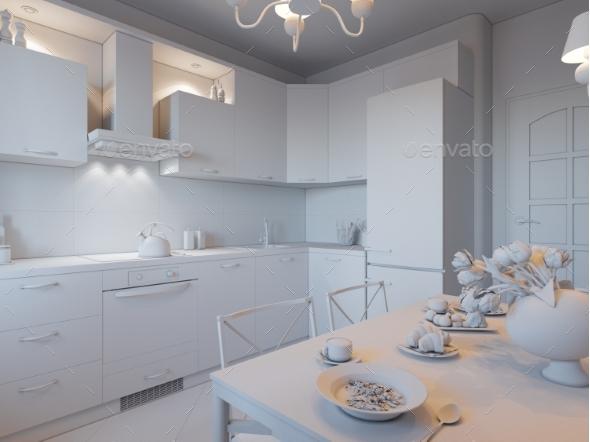 3d Render of Design Interior Kitchen in White - Architecture 3D Renders